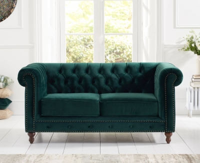 Mark Harris Montrose Green Plush Fabric 2 Seater Sofa