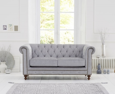 Mark Harris Montrose Grey Plush Fabric 2 Seater Sofa