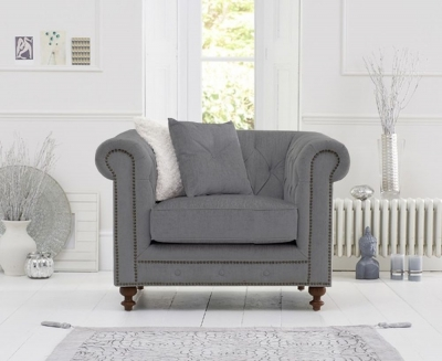 Mark Harris Montrose Grey Linen Fabric Armchair