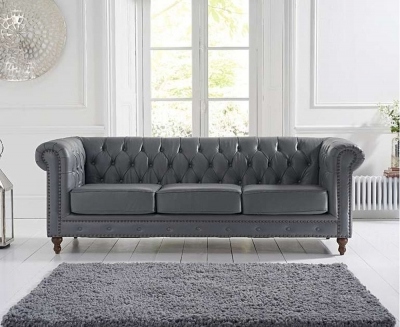 Mark Harris Montrose Grey Linen Leather 3 Seater Sofa