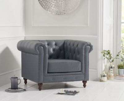 Mark Harris Montrose Grey Linen Leather Armchair