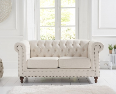 Mark Harris Montrose Ivory Linen Fabric 2 Seater Sofa