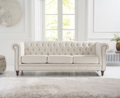 Mark Harris Montrose Ivory Linen Fabric 3 Seater Sofa