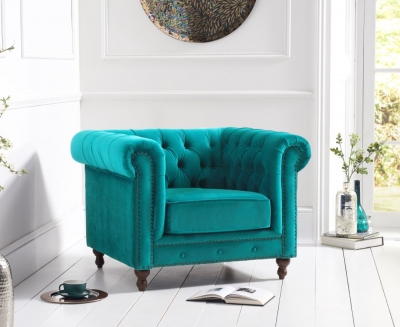 Mark Harris Montrose Teal Plush Fabric Armchair