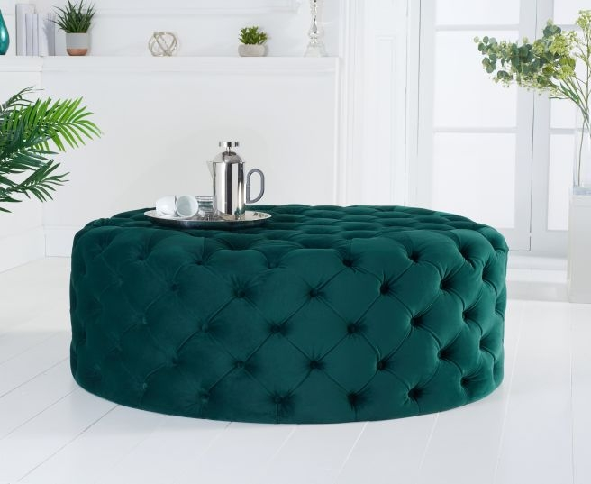 Mark Harris Montrose Green Velvet Large Round Footstool