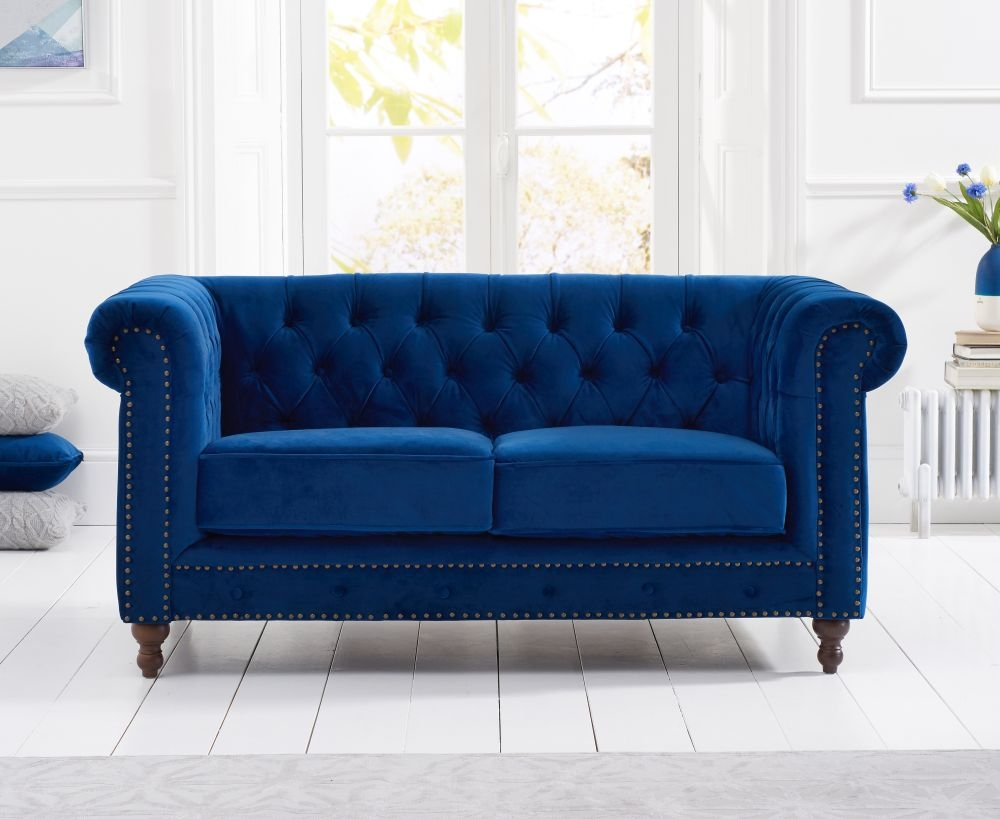 Mark Harris Montrose Blue Plush Fabric 2 Seater Sofa