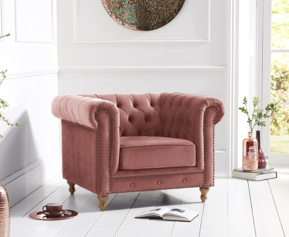 Mark Harris Montrose Blush Plush Fabric Armchair