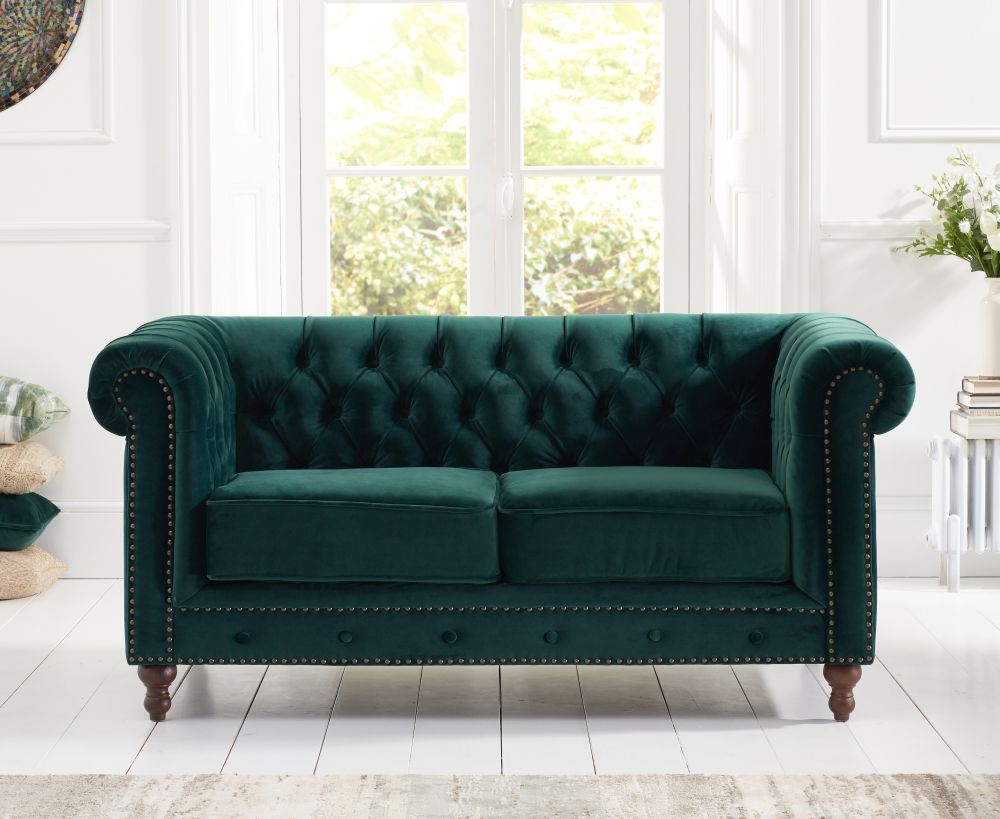 Product photograph showing Mark Harris Montrose Green Plush Fabric 2 Seater Sofa
