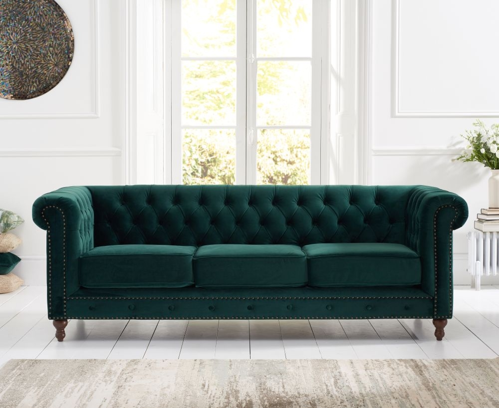 Mark Harris Montrose Green Plush Fabric 3 Seater Sofa