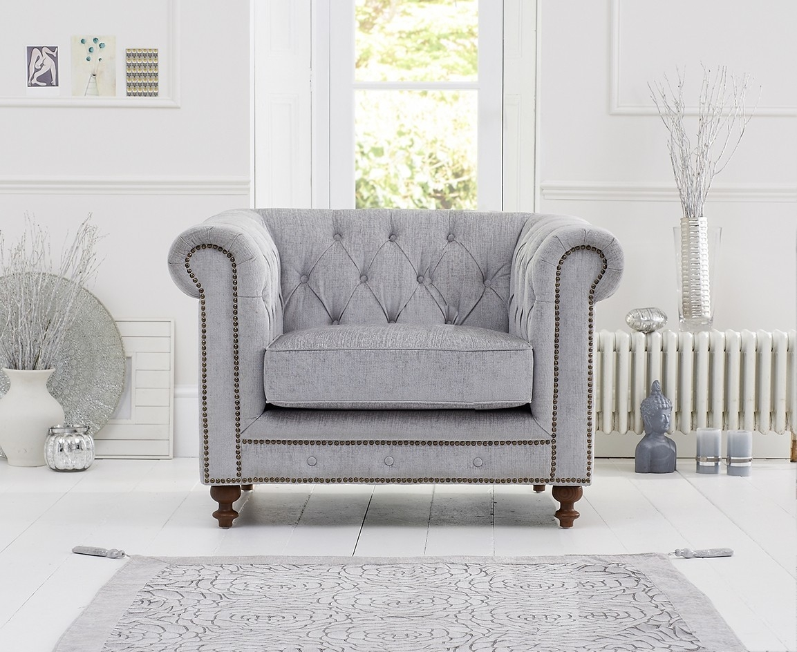 Mark Harris Montrose Grey Plush Fabric Armchair