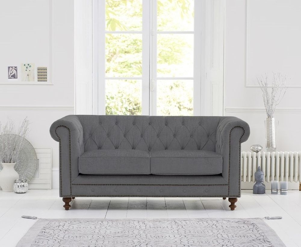 Mark Harris Montrose Grey Linen Fabric 2 Seater Sofa