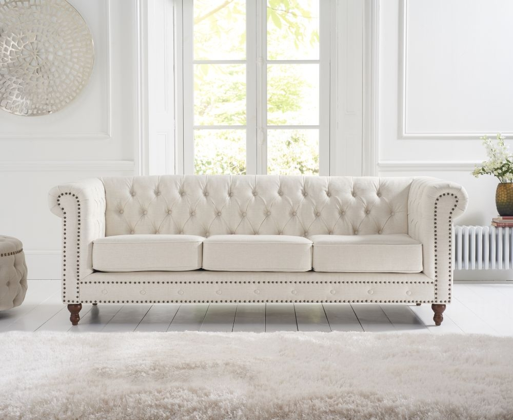 Mark Harris Montrose 3 Seater Sofa - Ivory Linen Fabric