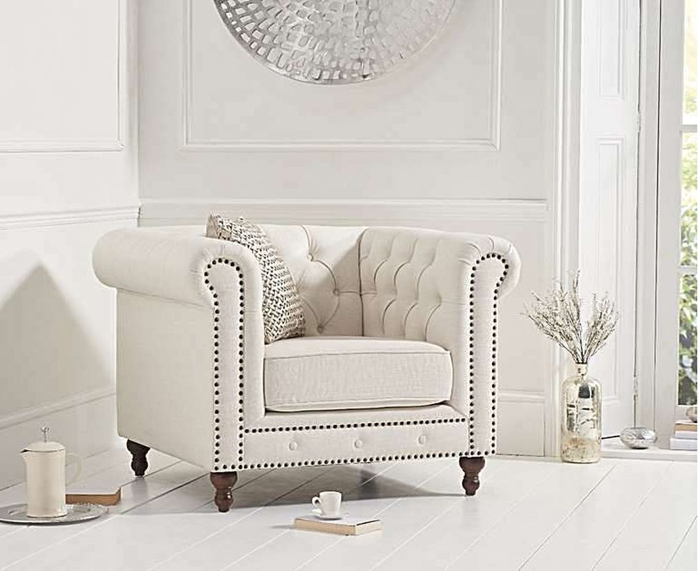 Mark Harris Montrose Ivory Linen Fabric Armchair