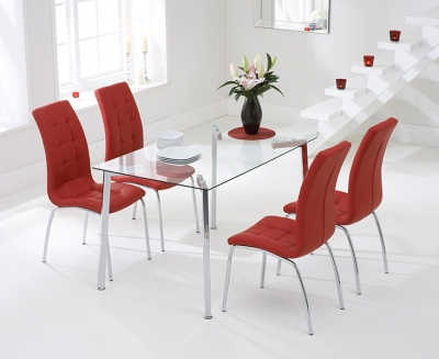 Mark Harris Munich 130cm Glass Dining Table with 4 California Red Chairs