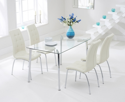 Mark Harris Munich 130cm Glass Dining Table and 4 California Cream Chairs