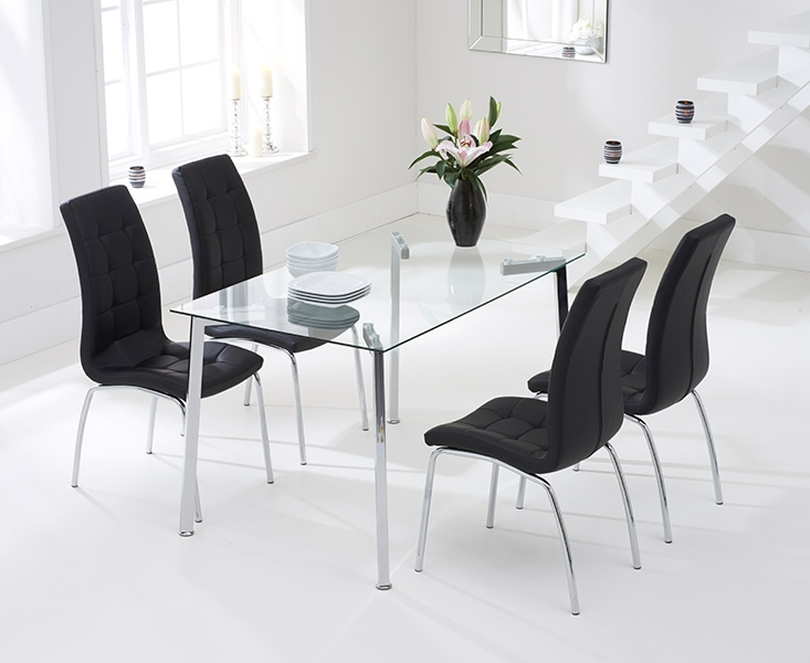 Mark Harris Munich 130cm Glass Dining Table with 4 California Black Chairs