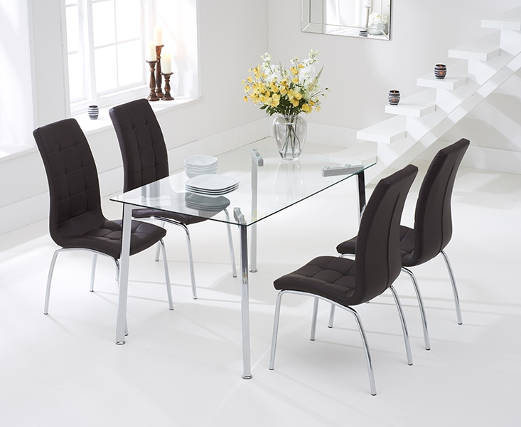Mark Harris Munich 130cm Glass Dining Set with 4 California Brown Dining Chairs