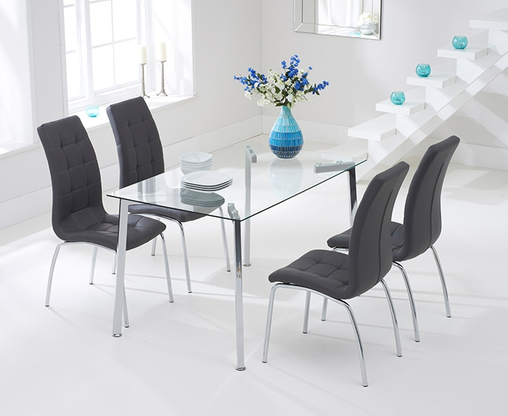Mark Harris Munich 130cm Glass Dining Table with 4 California Grey Chairs