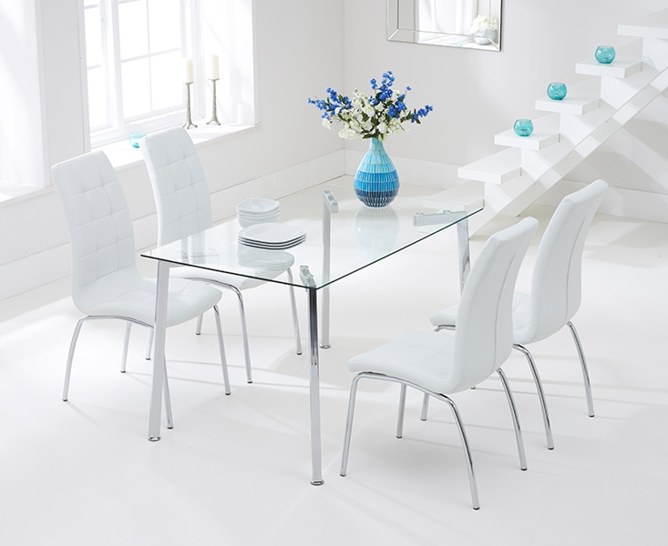 Mark Harris Munich 130cm Glass Dining Table with 4 California White Chairs