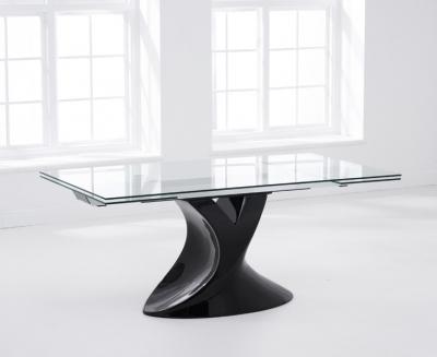Mark Harris Murcia 180cm Extending Black Glass Dining Table