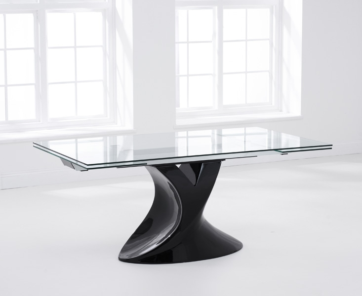 Mark Harris Murcia Black Glass Dining Table - 180cm Extending