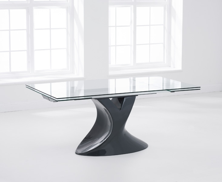 Mark Harris Murcia Grey Glass Dining Table - 180cm Rectangular Extending