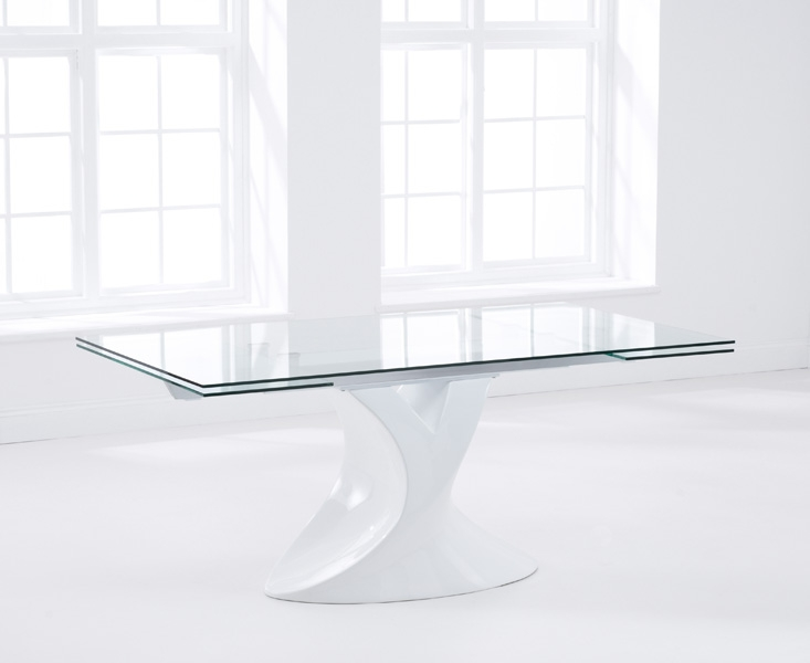 Mark Harris Murcia White Glass Dining Table - 180cm Rectangular Extending
