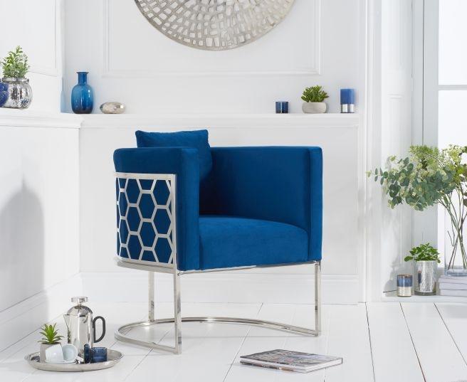 Mark Harris Napa Blue Velvet Fabric Accent Chair