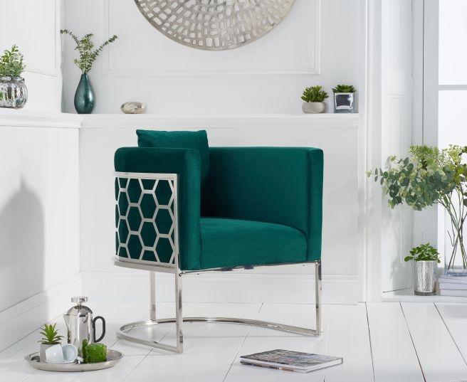 Mark Harris Napa Green Velvet Fabric Accent Chair