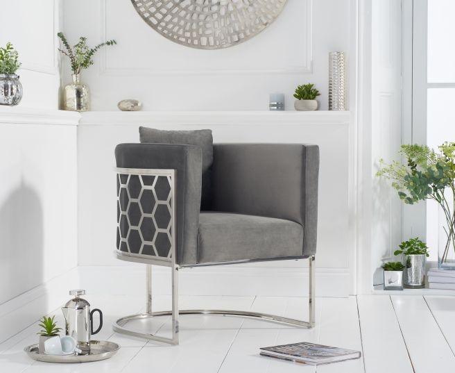 Mark Harris Napa Grey Velvet Fabric Accent Chair