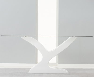 Mark Harris Natalie White High Gloss Glass Top Dining Table - 180cm