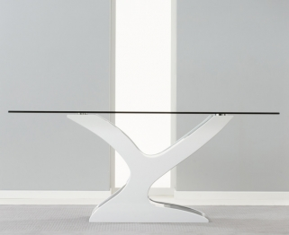 Mark Harris Natalie Black and White High Gloss Glass Top 180cm Dining Table