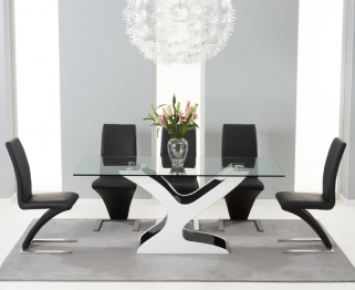 Mark Harris Natalie Black and White High Gloss Glass Top Dining Table with 6 Black Hereford Dining Chairs