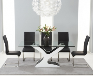 Mark Harris Natalie Black and White High Gloss Glass Top Dining Table with 6 Black Malibu Dining Chairs