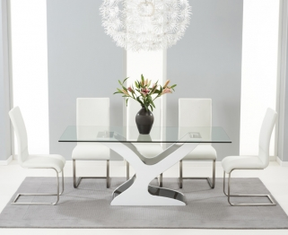Mark Harris Natalie Black and White High Gloss Glass Top Dining Table with 6 White Malibu Dining Chairs