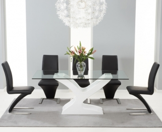 Mark Harris Natalie White High Gloss Glass Top Dining Set with 6 Black Hereford Dining Chairs
