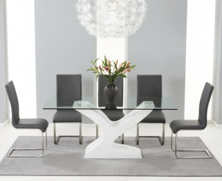Mark Harris Natalie White High Gloss Glass Top Dining Set with 6 Grey Malibu Dining Chairs