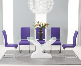 Mark Harris Natalie White High Gloss Glass Top Dining Set with 6 Purple Malibu Dining Chairs