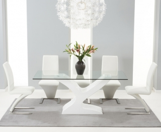 Mark Harris Natalie White High Gloss Glass Top Dining Set with 6 White Hereford Dining Chairs