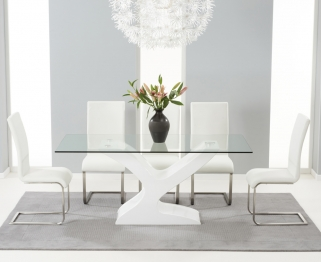 Mark Harris Natalie White High Gloss Glass Top Dining Set - with 6 White Malibu Chairs