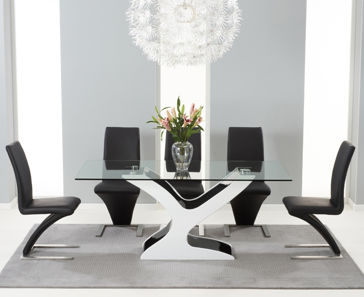 Buy Mark Harris Natalie Black And White High Gloss Glass Top Dining Set 180cm With 6 CHOICEFURNITURESUPERSTORE