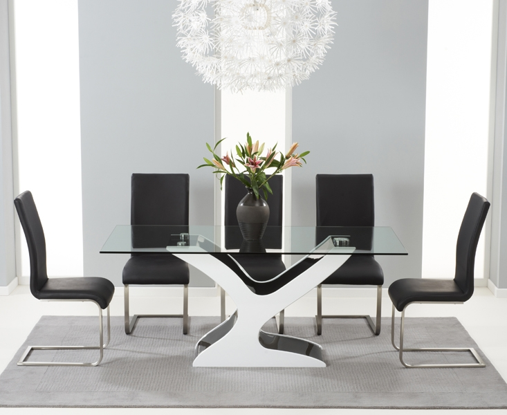 Mark Harris Natalie Black and White High Gloss Glass Top Dining Set - 180cm Rectangular with 6 Malibu Chairs