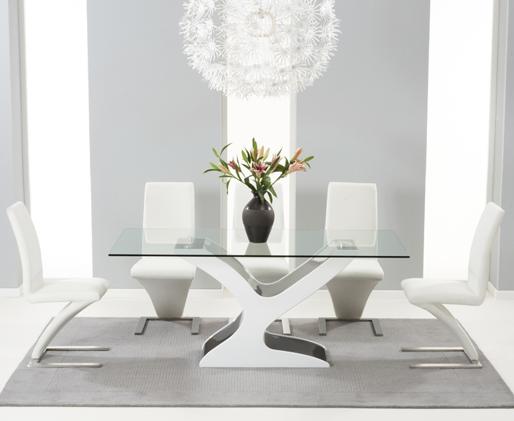 Mark Harris Natalie Black and White High Gloss Glass Top Dining Set - 180cm with 6 White Hereford Chairs