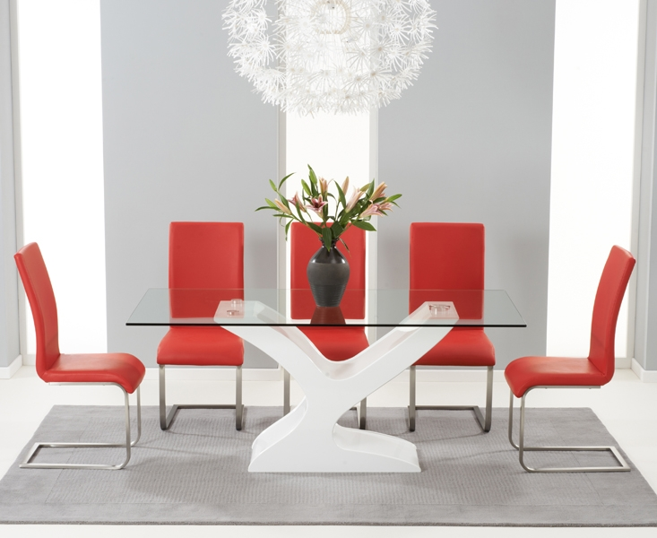 Buy Mark Harris Natalie White High Gloss Glass Top Dining Set 180cm With 6 Red Malib CHOICEFURNITURESUPERSTORE