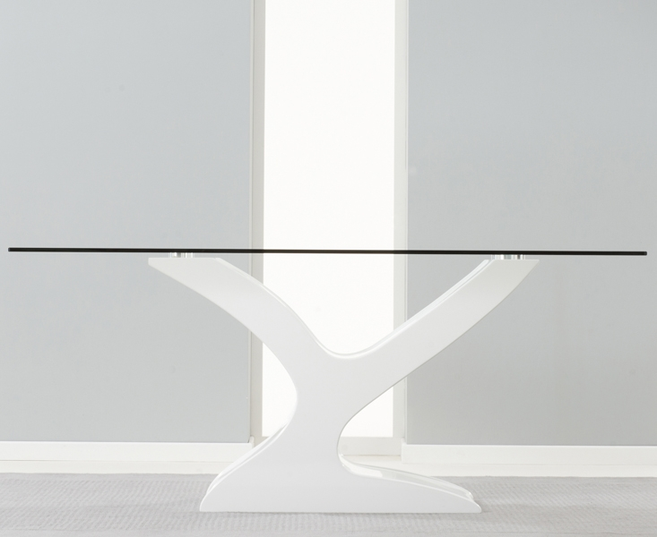 Mark Harris Natalie White High Gloss Glass Top Dining Table - 180cm Rectangular