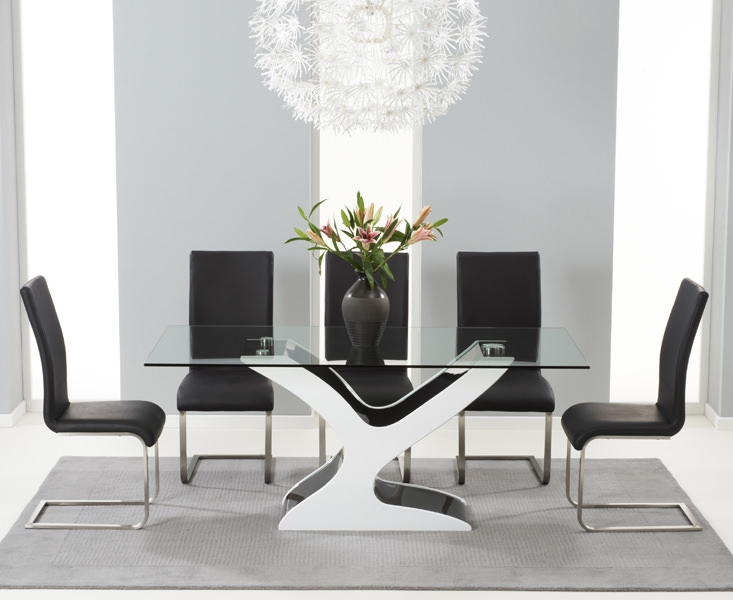 Mark Harris Natalie Black and White High Gloss Glass Top Dining Table - with 6 Black Malibu Chairs