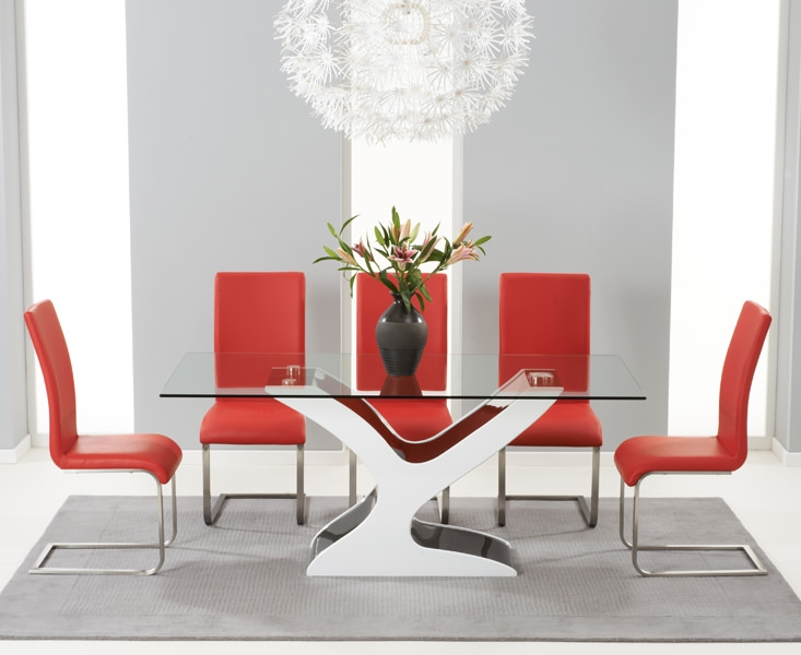 Mark Harris Natalie Black and White High Gloss Glass Top Dining Table with 6 Red Malibu Dining Chairs
