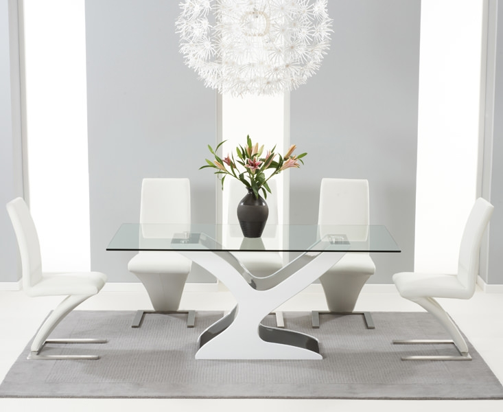 Mark Harris Natalie Black and White High Gloss Glass Top Dining Table with 6 White Hereford Dining Chairs