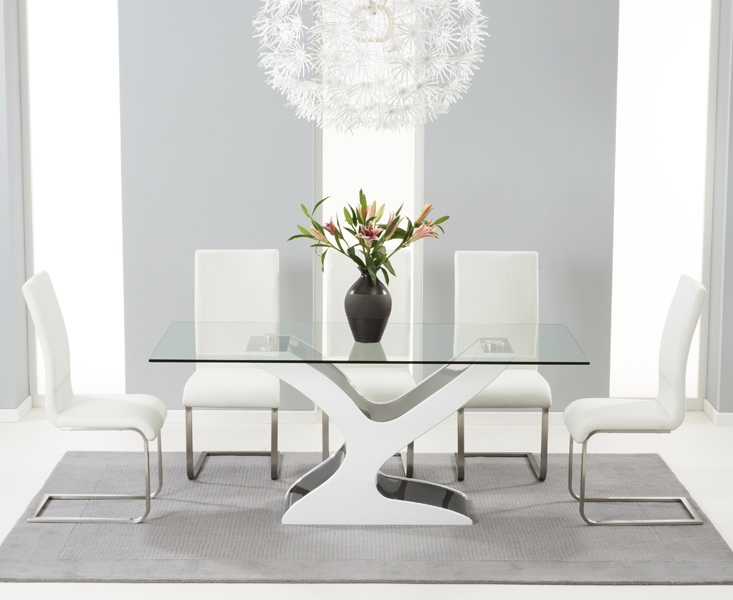 Mark Harris Natalie Black and White High Gloss Glass Top Dining Table - with 6 White Malibu Chairs
