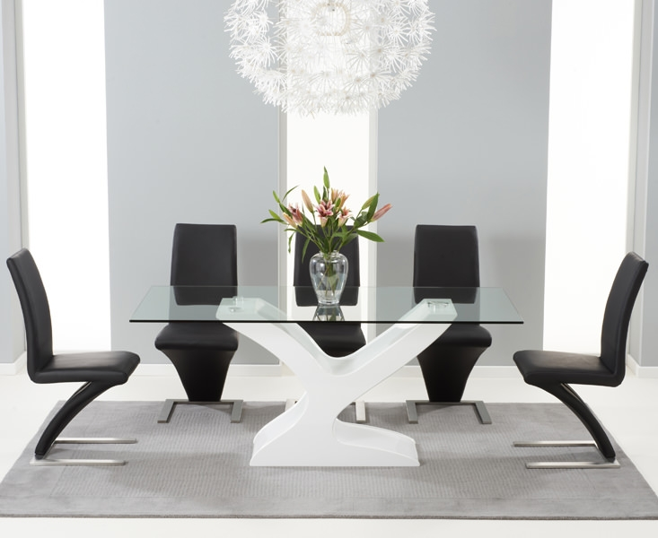 Mark Harris Natalie White High Gloss Glass Top Dining Set - with 6 Black Hereford Chairs